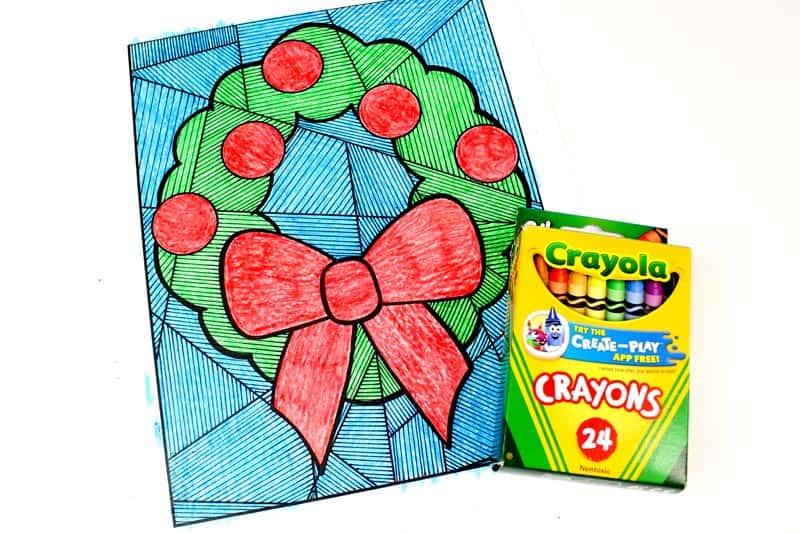 Christmas Wreath Color & Line Study Printable