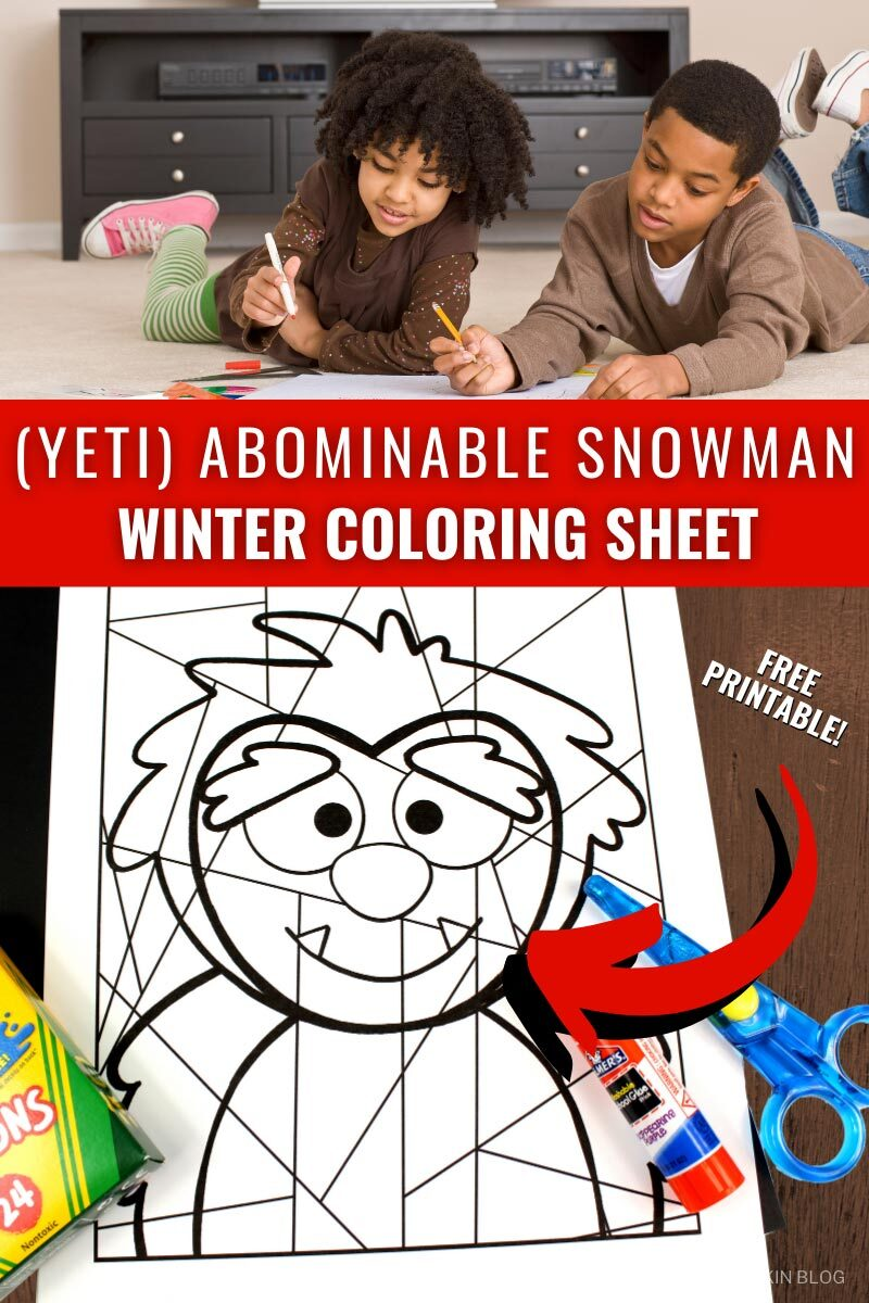 Yeti Abominable Snowman Winter Coloring Sheet