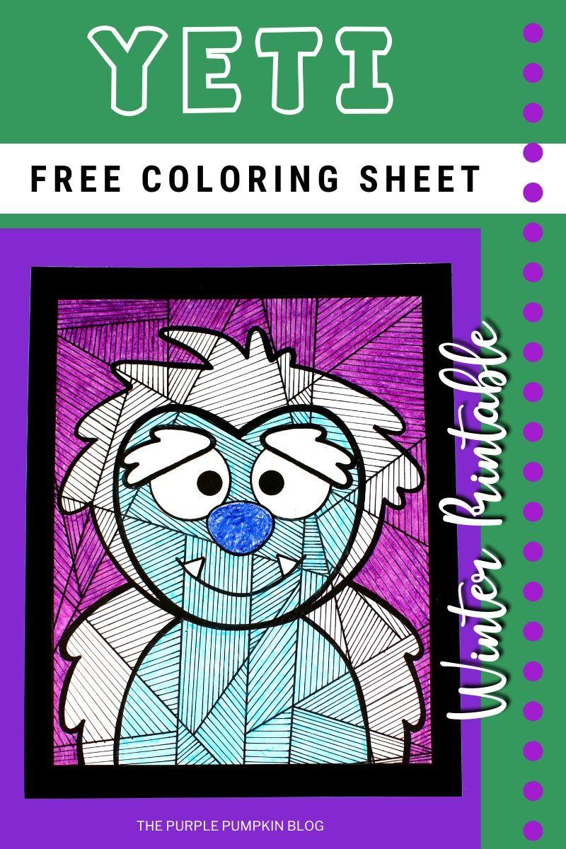 Yeti Free Coloring Sheet Winter Printable
