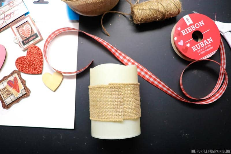 Burlap wrapped around candle