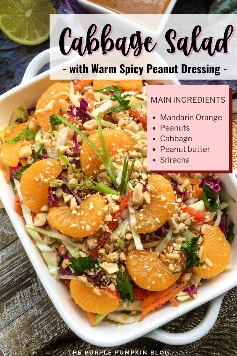 Cabbage Salad with Warm Spicy Peanut Dressing
