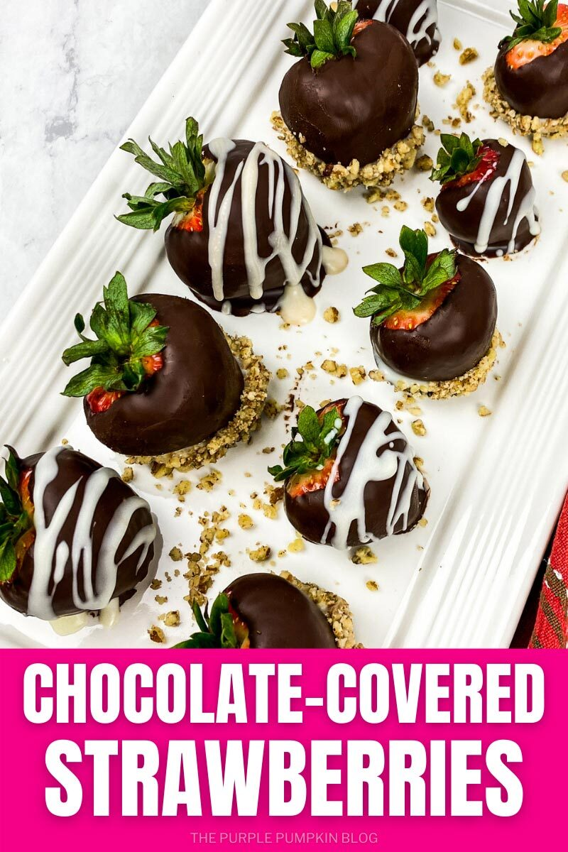 "A plate of strawberries dipped in chocolate. Text overlay says""Chocolate-Covered Strawberries"". Similar photos of the recipe from various angles are used throughout but with different text overlay unless otherwise described."