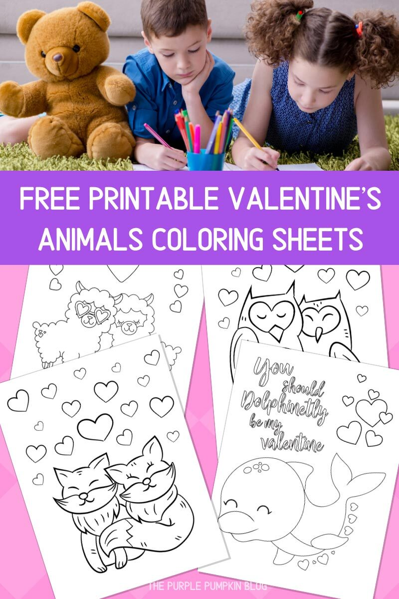 Free Printable Valentine's Animals Coloring Sheets