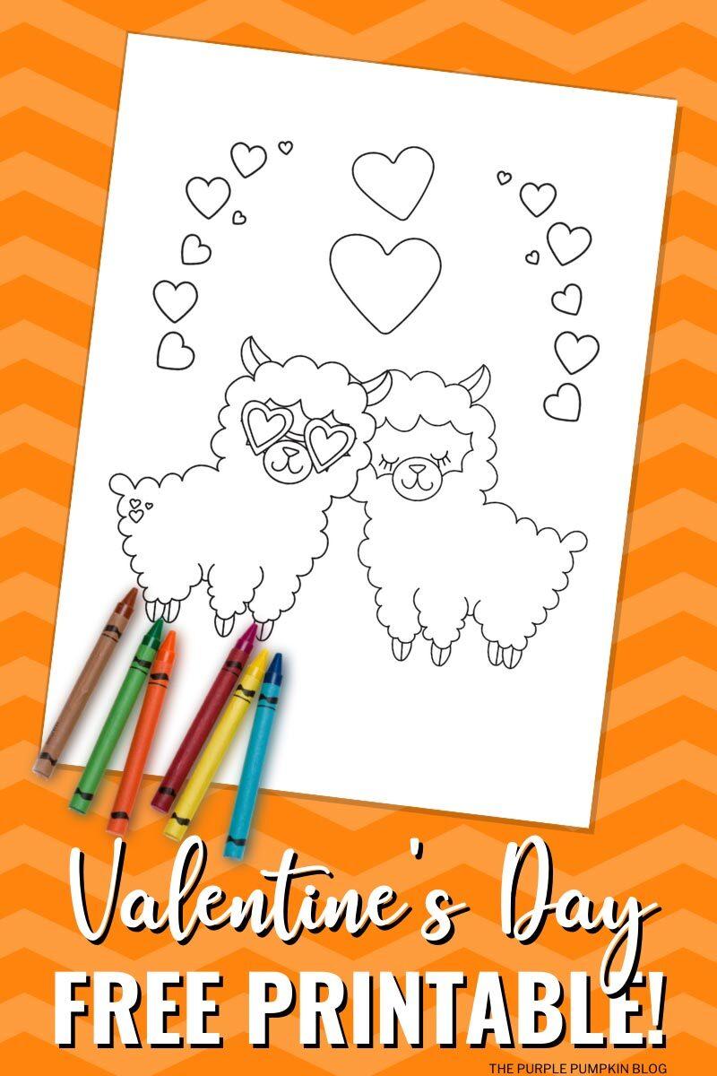 Free Printable Valentine's Day Llamas Coloring Sheet