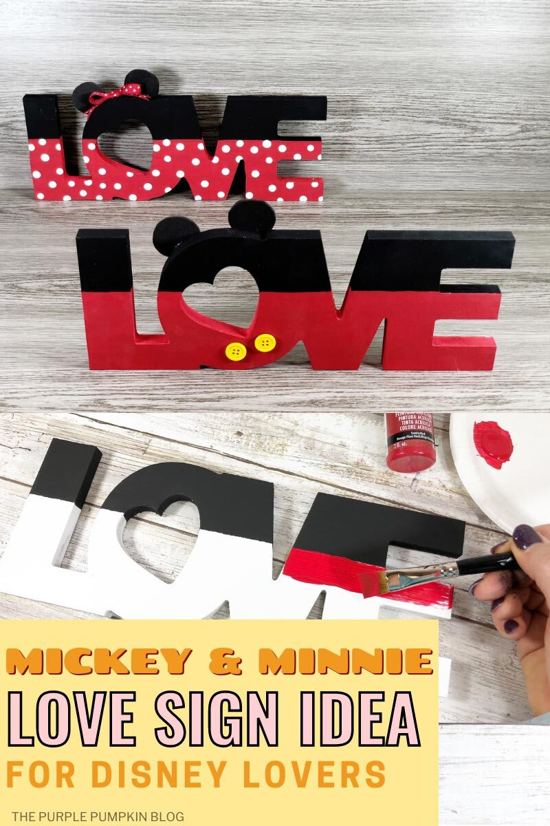 Mickey & Minnie Love Sign Idea for Disney Lovers - Completed signs, plus another image demonstrating painting the red section.