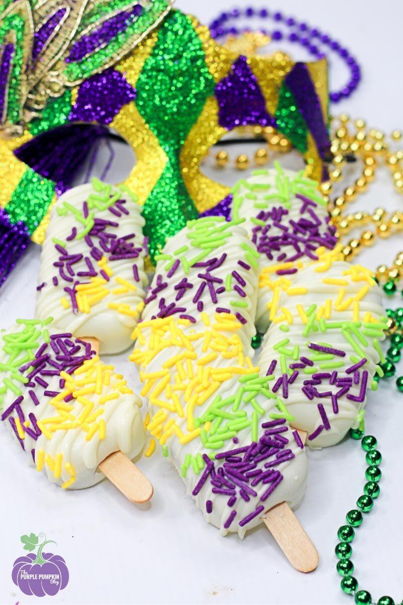 Recipe for Mardi Gras Choc Rum Cakesicles