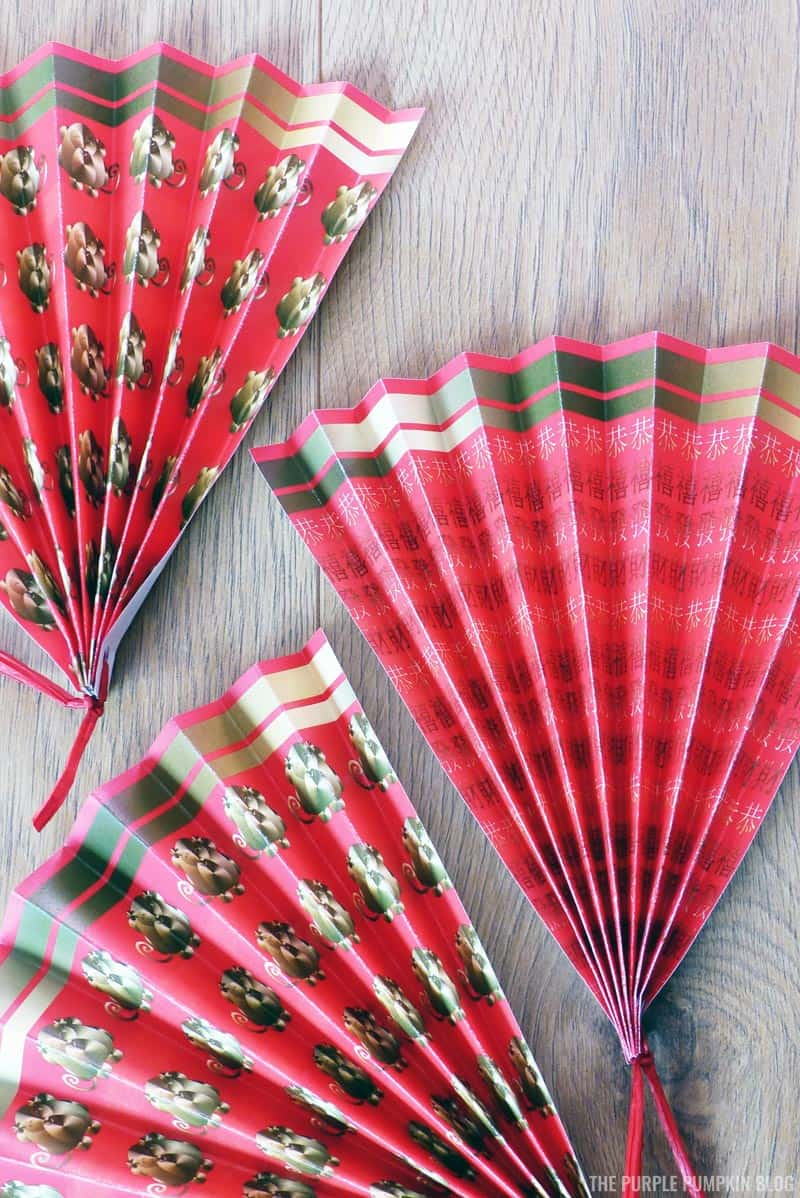 Small Paper Hand Fans for Lunar New Year