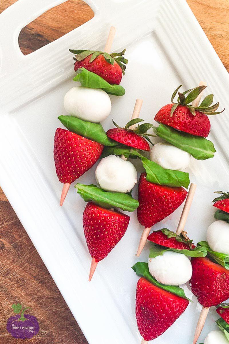 Strawberry Caprese Skewers with Mozzarella & Basil