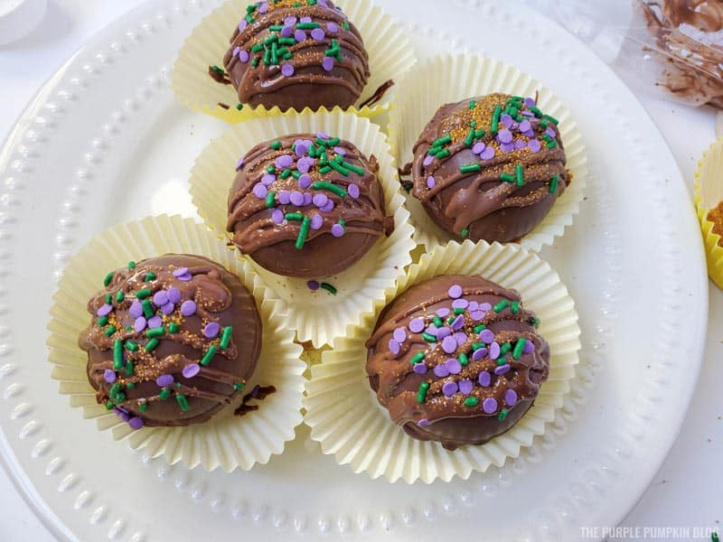 Adding Sprinkles to Chocolate Bombs