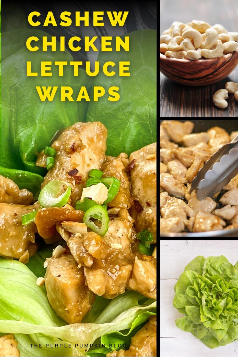 """4 panel image - one showing the finished cashew chicken in lettuce wraps. the other three are a bowl of cashews, chicken cooking in a pan, and a head of lettuce. Text overlay says""""Cashew Chicken Lettuce Wraps""""."""