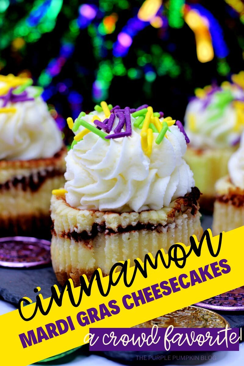 Cinnamon Mardi Gras Cheesecakes - A Crowd Favorite
