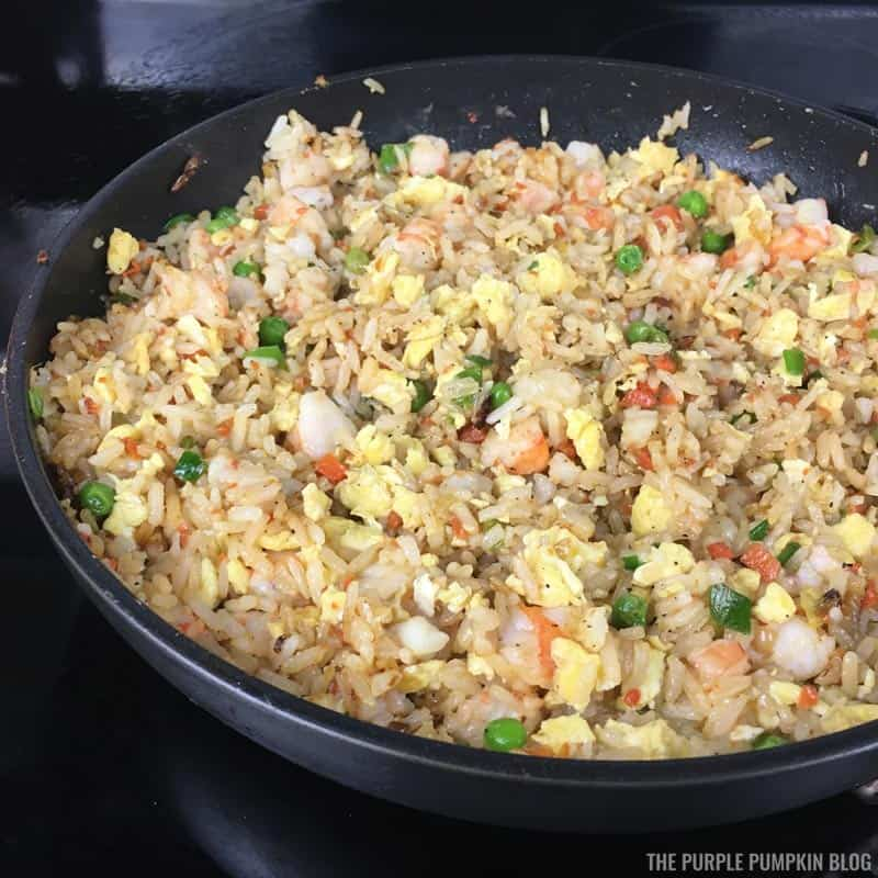 Cooked Shrimp Fried Rice in Pan