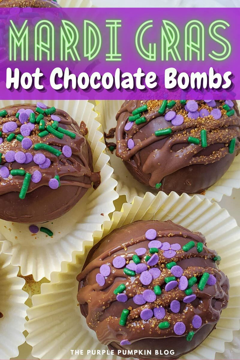 Decorated Mardi Gras Hot Chocolate Bombs