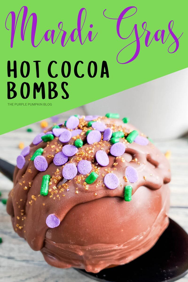 Decorated Mardi Gras Hot Cocoa Bombs