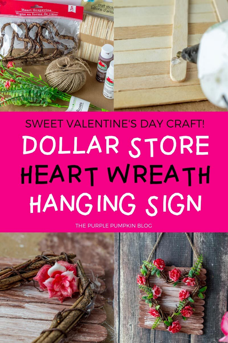 Dollar Store Heart Wreath Hanging Sign