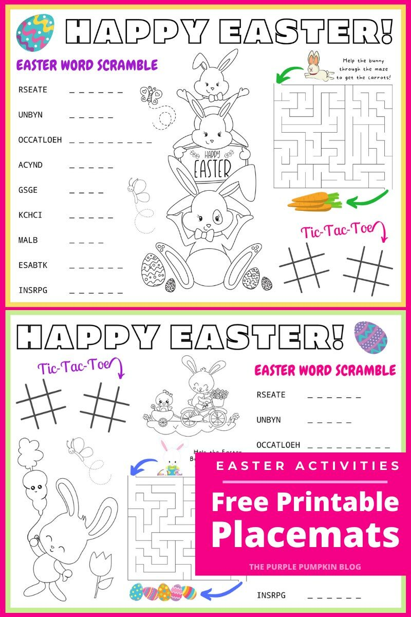 Easter Activity Free Printable Placemats