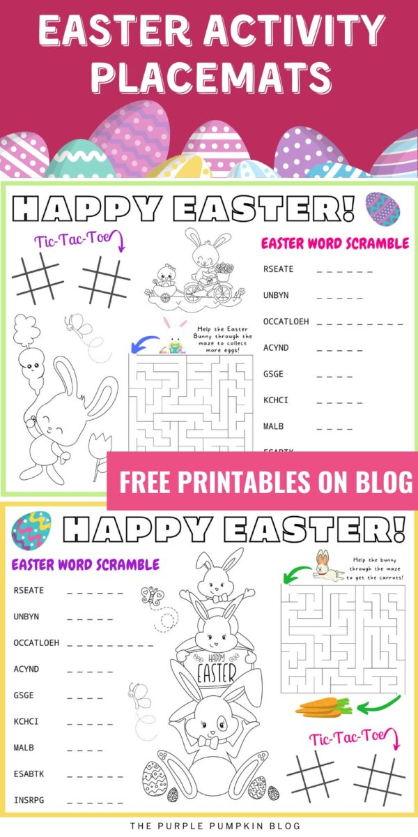 Easter Activity Placemats - Free Printable