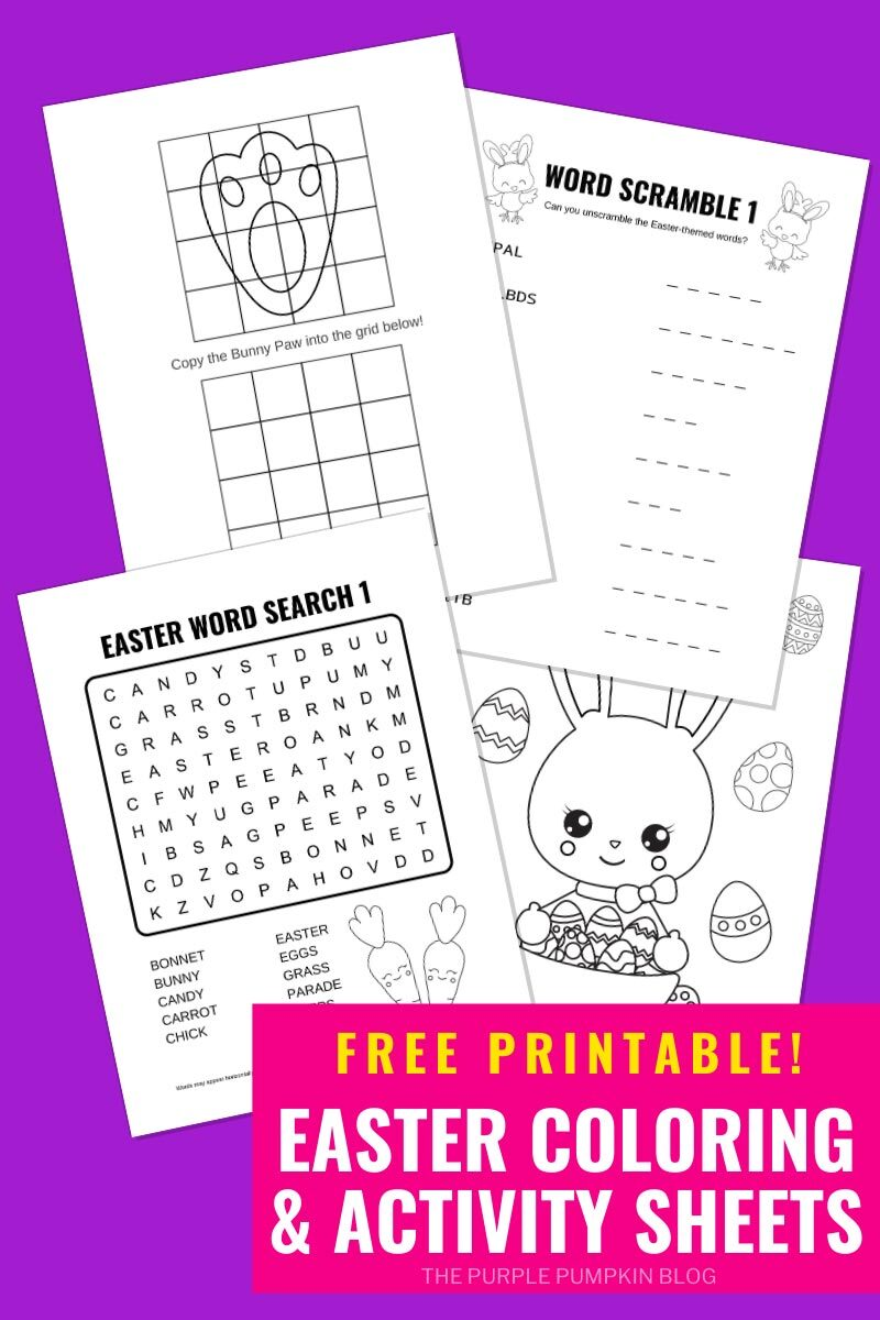 Free Printable Easter Bunny Activity Sheets & Coloring Pages