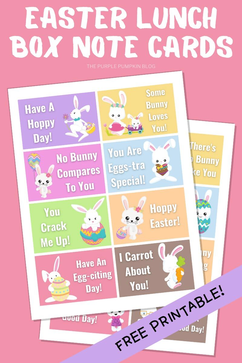 Free Printable Easter Lunch Box Note Cards