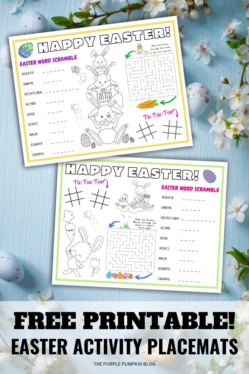 Free Printable for Easter Activity Placemats