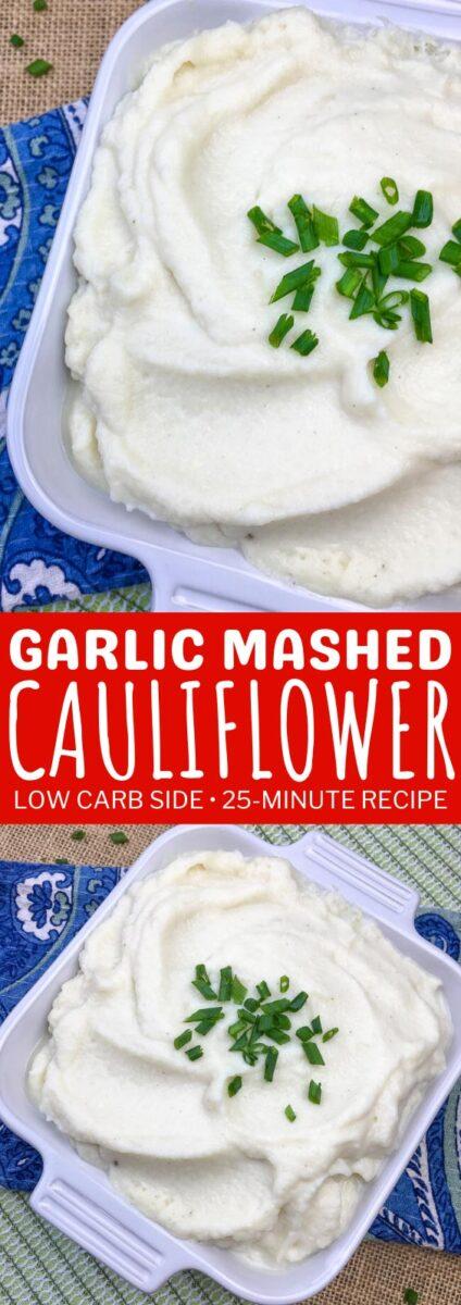 Garlic Mashed Cauliflower - Low Carb Side Dish