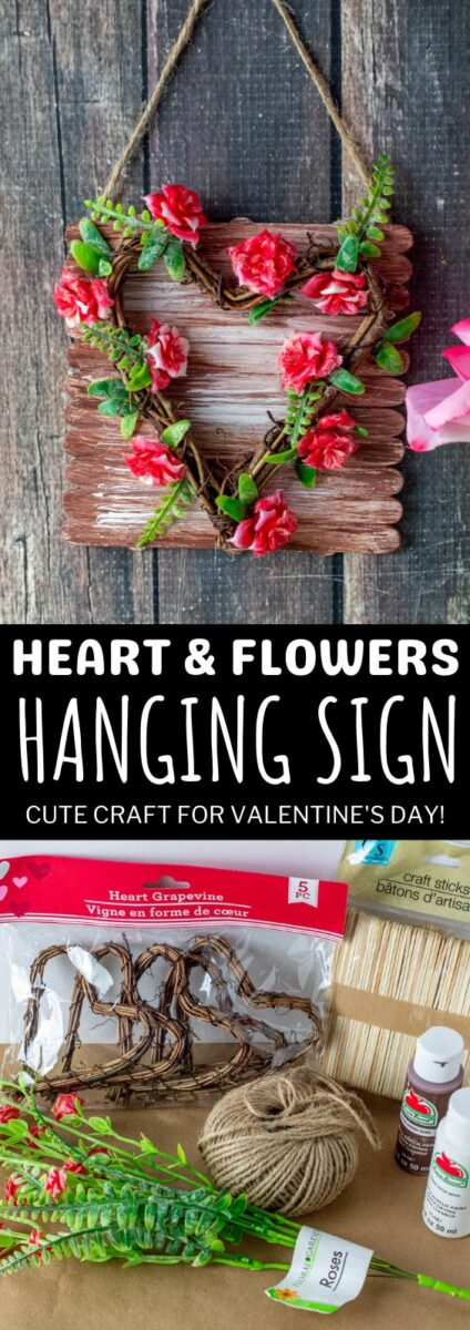 Heart & Flowers Hanging Sign Craft for Valentine's Day