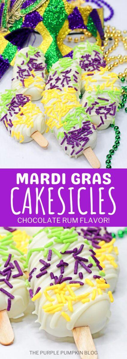 Mardi Gras Cakesicles - Chocolate Rum Flavor!