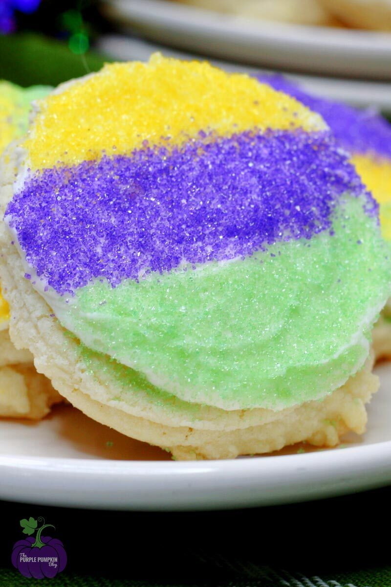 Mardi Gras Cookies with Frosting and Sugar Sprinkles
