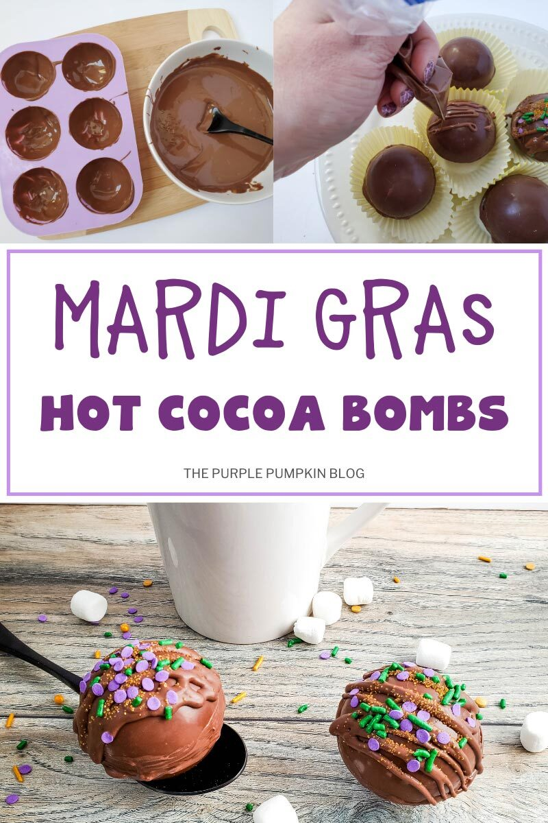 Mardi Gras Hot Cocoa Bombs - Step by Step