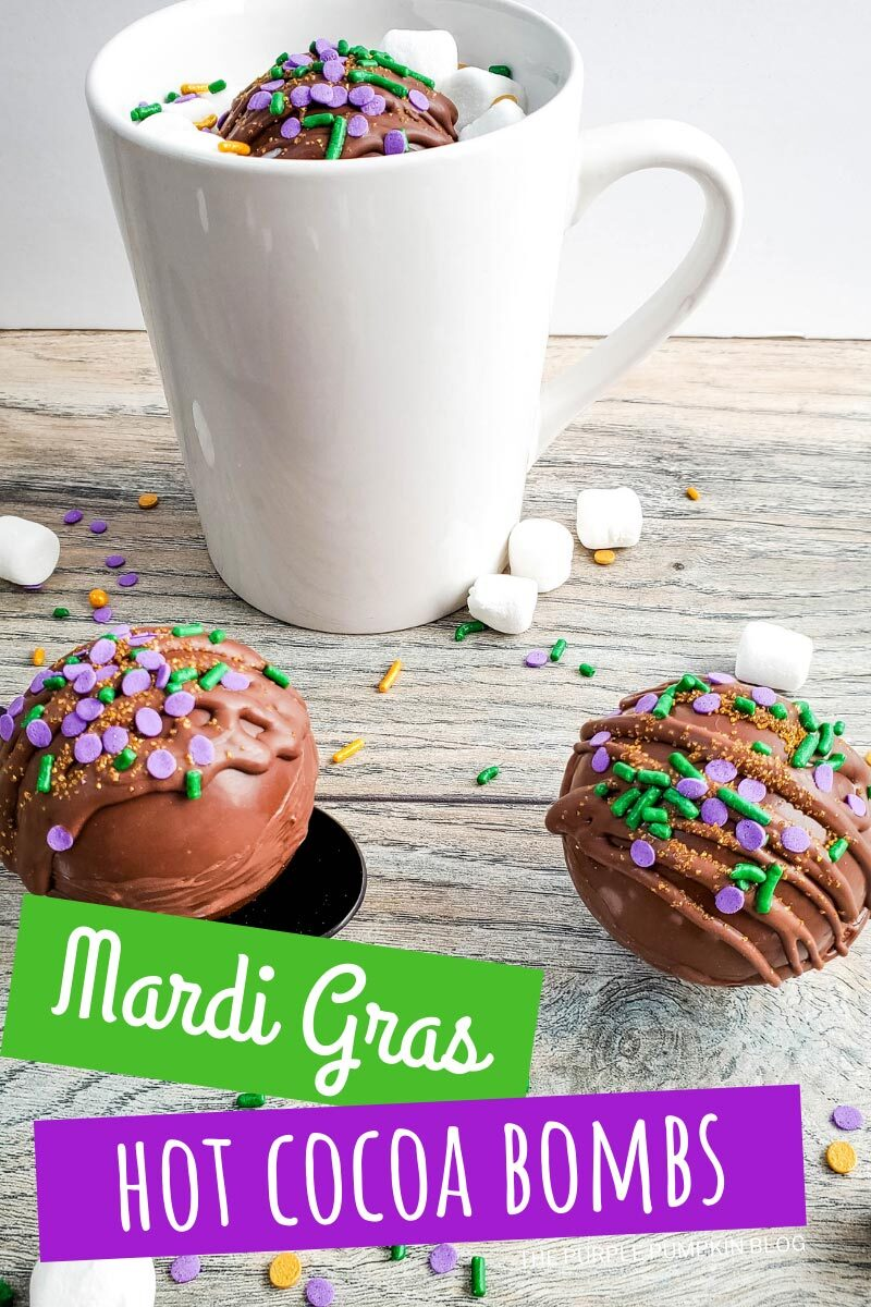 Mardi Gras Hot Cocoa Bombs with Sprinkles