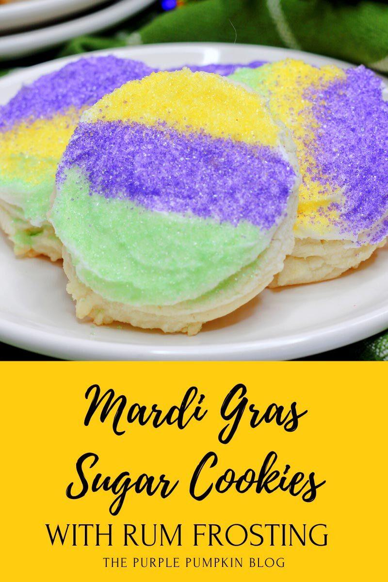 Mardi Gras Sugar Cookies with Rum Frosting