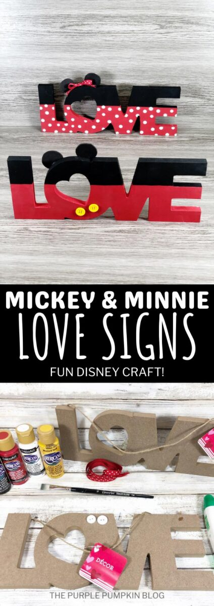 Mickey & Minnie Love Signs - Cute Disney Craft!