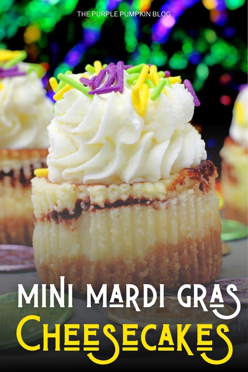 Mini Mardi Gras Cheesecakes