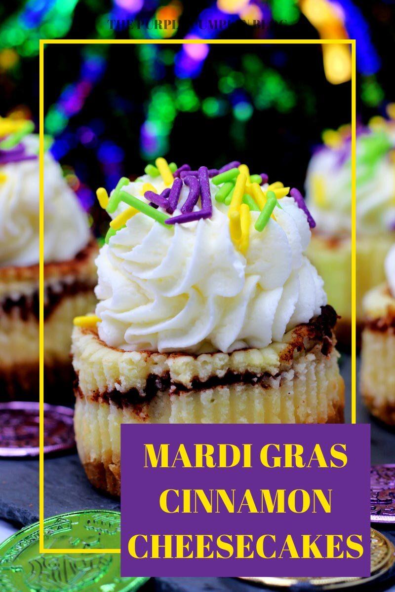 Mini Mardi Gras Cinnamon Cheesecakes Recipe