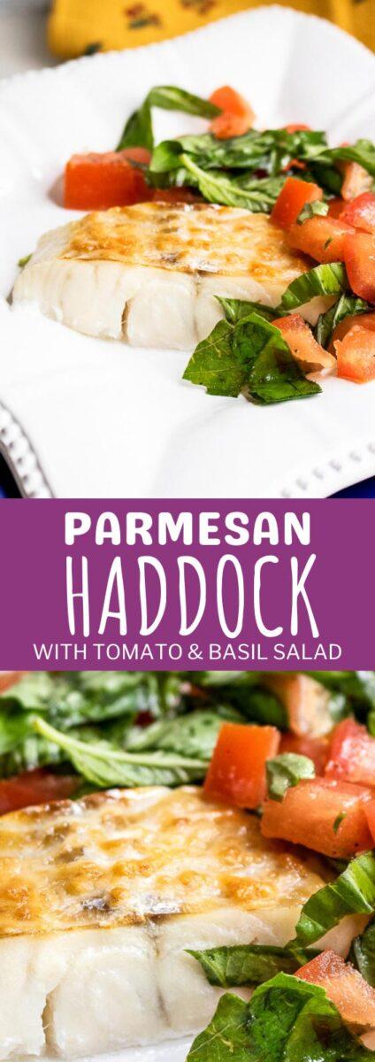 Parmesan Haddock with Tomato Basil Salad