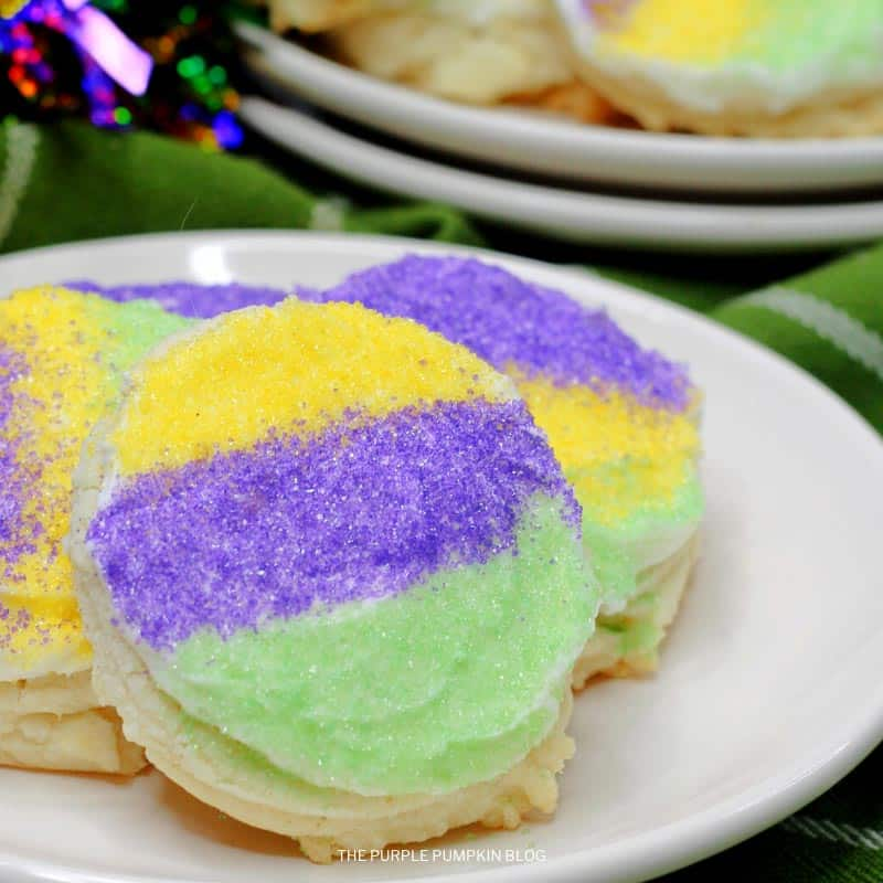 Rum-Frosted Mardi Gras Sugar Cookies