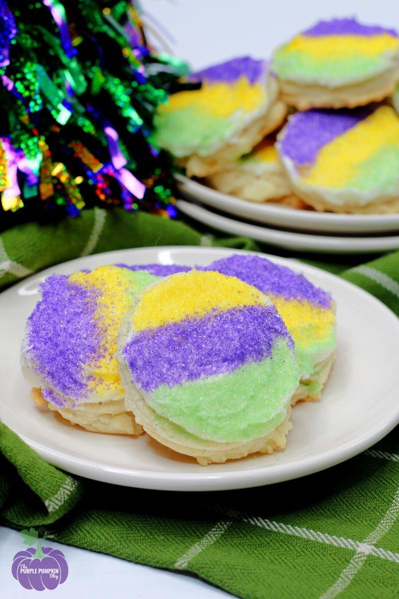 Sugar-Dusted Mardi Gras Cookies
