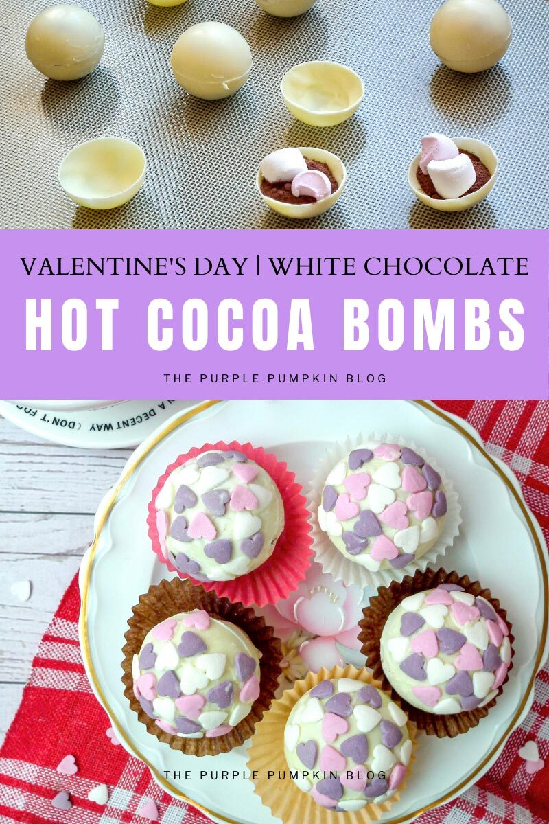 Valentine's Day White Chocolate Hot Cocoa Bombs