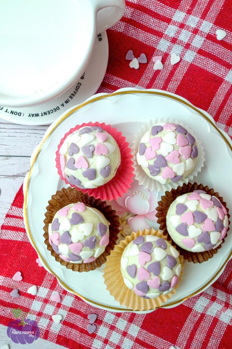 White Chocolate Hot Cocoa Bombs with Love Heart Sprinkles