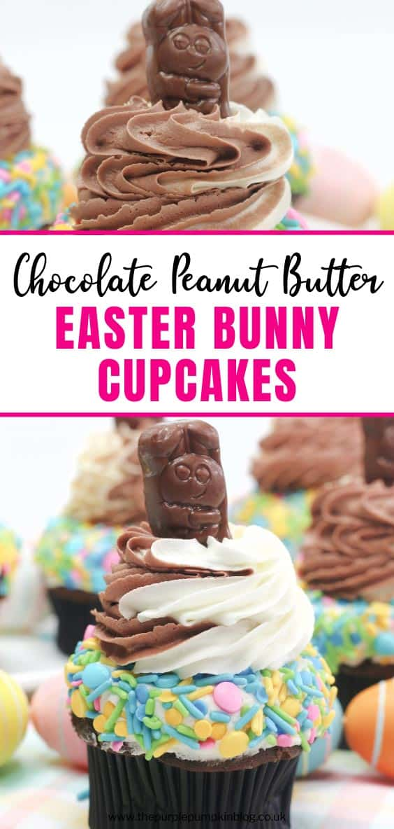 Chocolate and Peanut Butter Easter Bunny Cupcakes