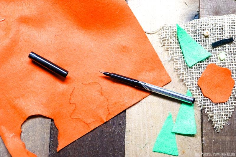 Cutting Gnome Pieces from Felt