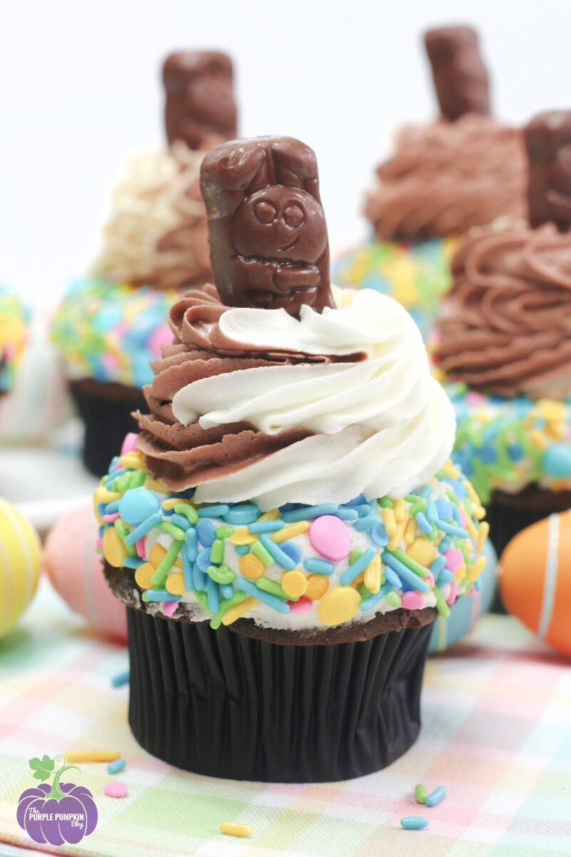 Triple Frosted Easter Bunny Cupcakes