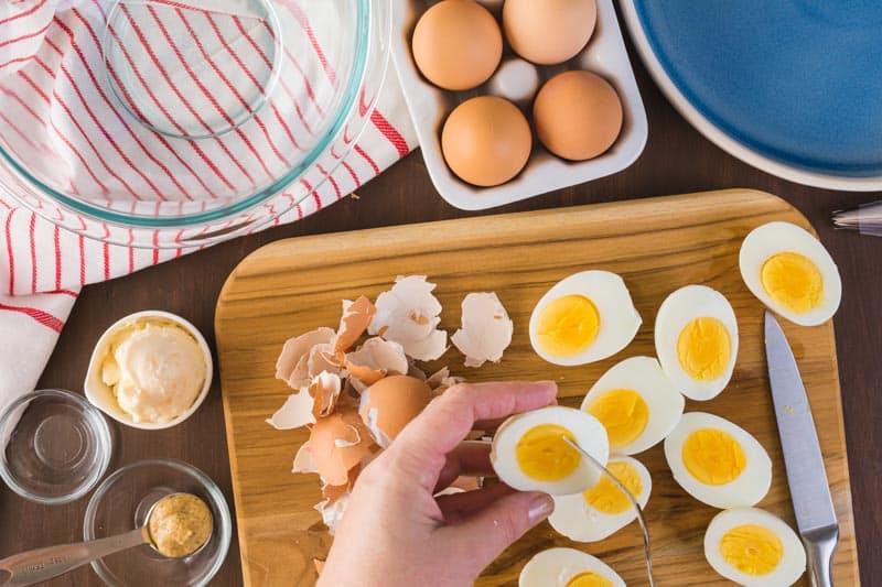 Eggs cut in half