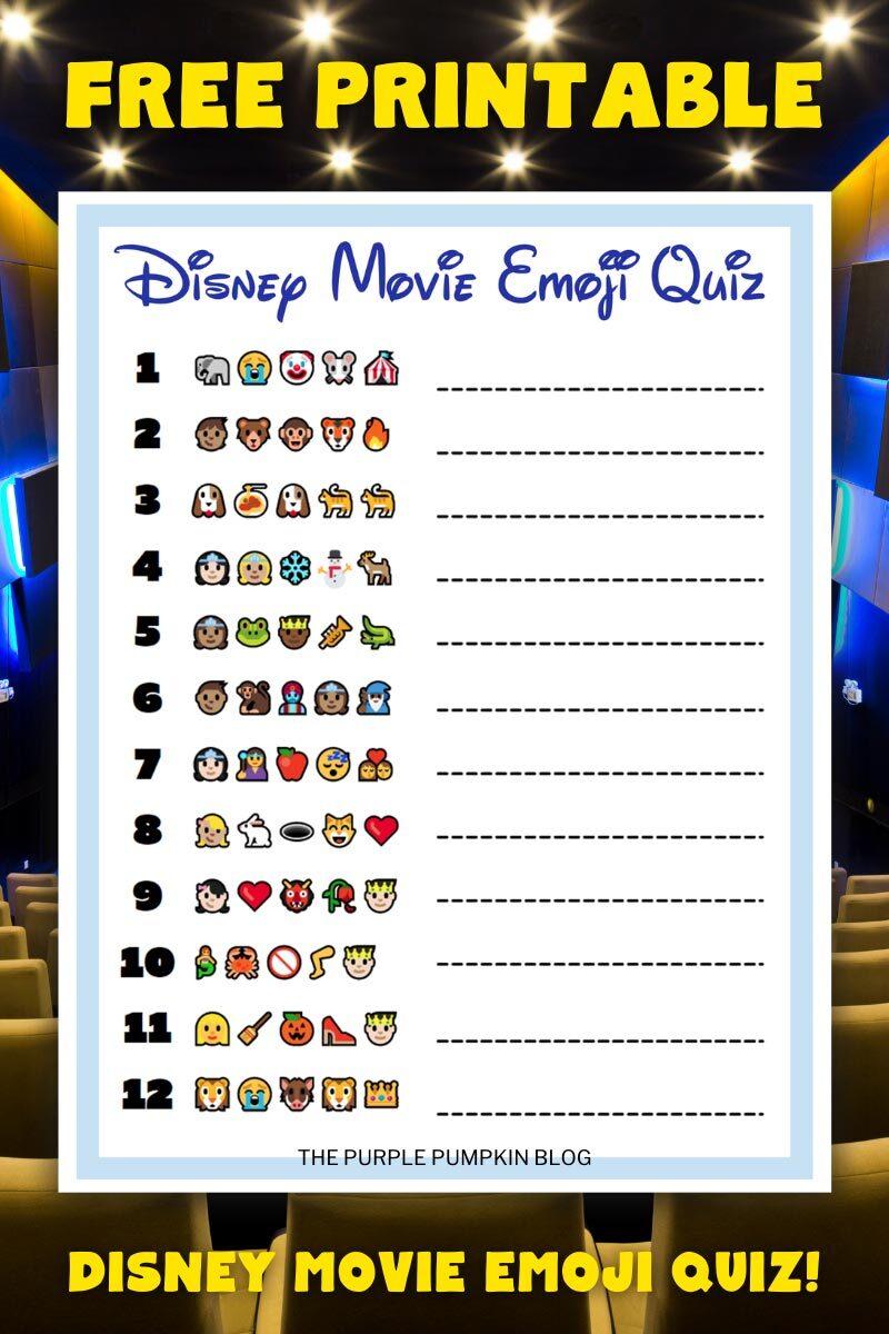 Free Disney Movie Emoji Quiz Sheet Printable