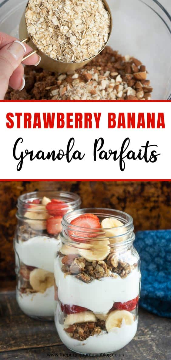 Jars of Strawberry Banana Granola Parfaits