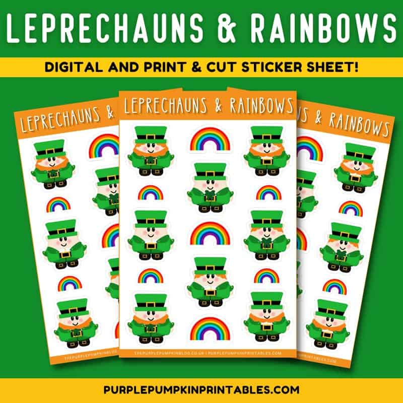 Leprechauns- & Rainbows Digital and Print & Cut Sticker Sheet