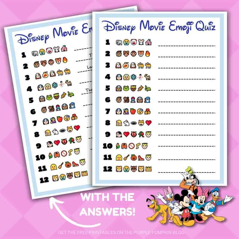 Printable Disney Movie Emoji Quiz with Answers