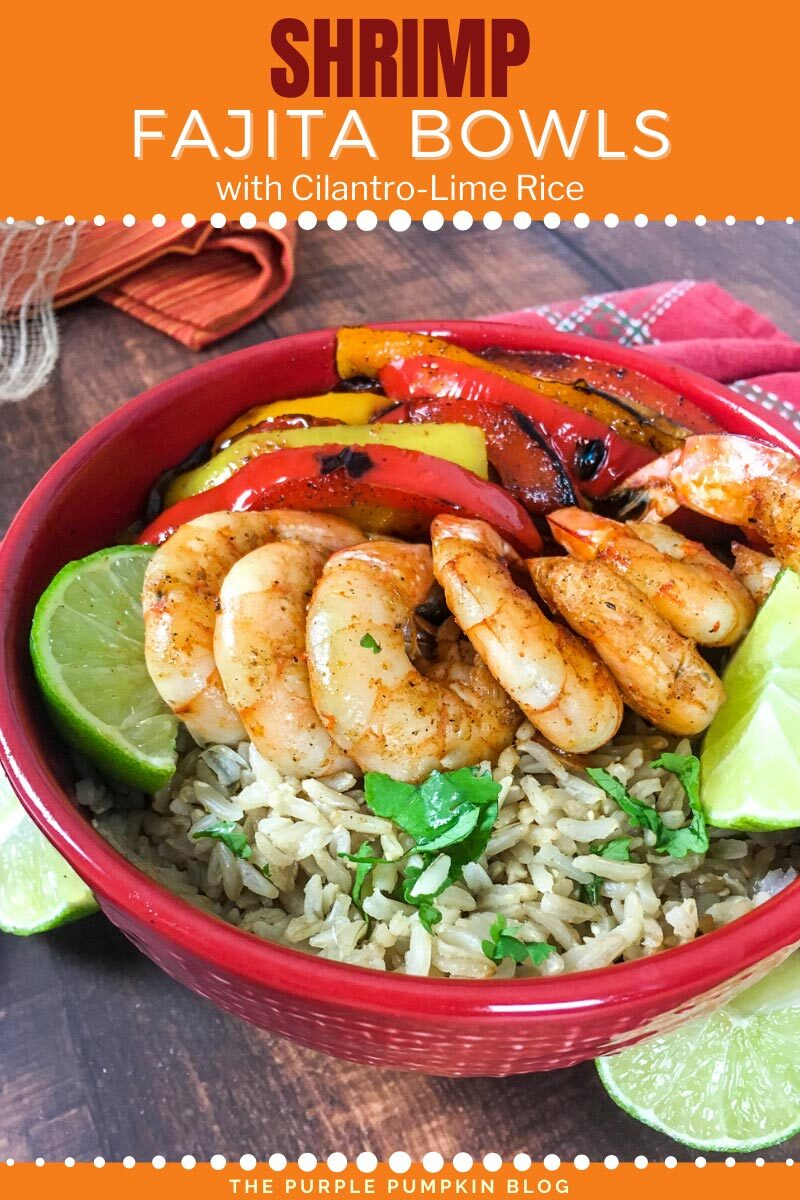 """A red bowl filled with rice, and topped with shrimp, bell peppers, and lime wedges. Text overlay says""""Shrimp Fajita Bowls with Cilantro-Lime Rice"""". Similar photos of the recipe from various angles are used throughout but with different text overlays unless otherwise described."""