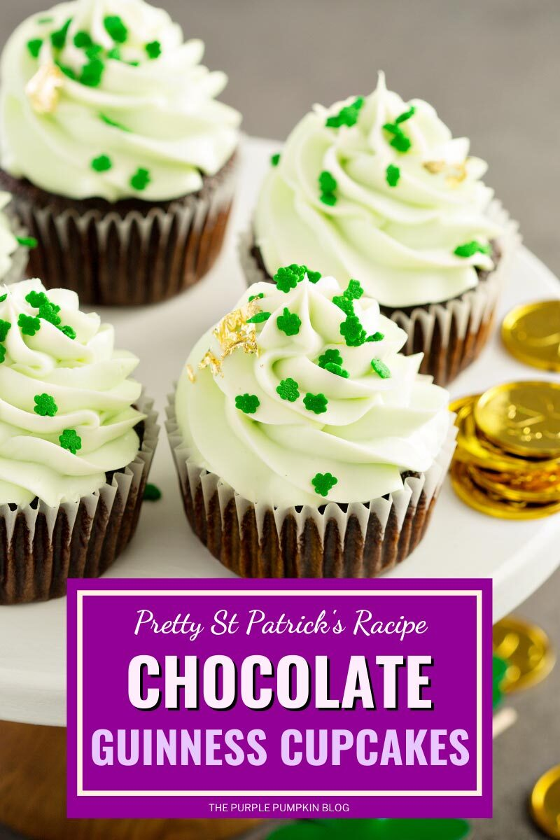 """A cake stand with frosted cupcakes topped with gold leaf and mini shamrock sprinkles. Text overlay says""""St. Patricks Day Chocolate Guinness Cupcakes"""". Same cupcakes featured throughout from various angles, with different text overlays, unless otherwise described."""