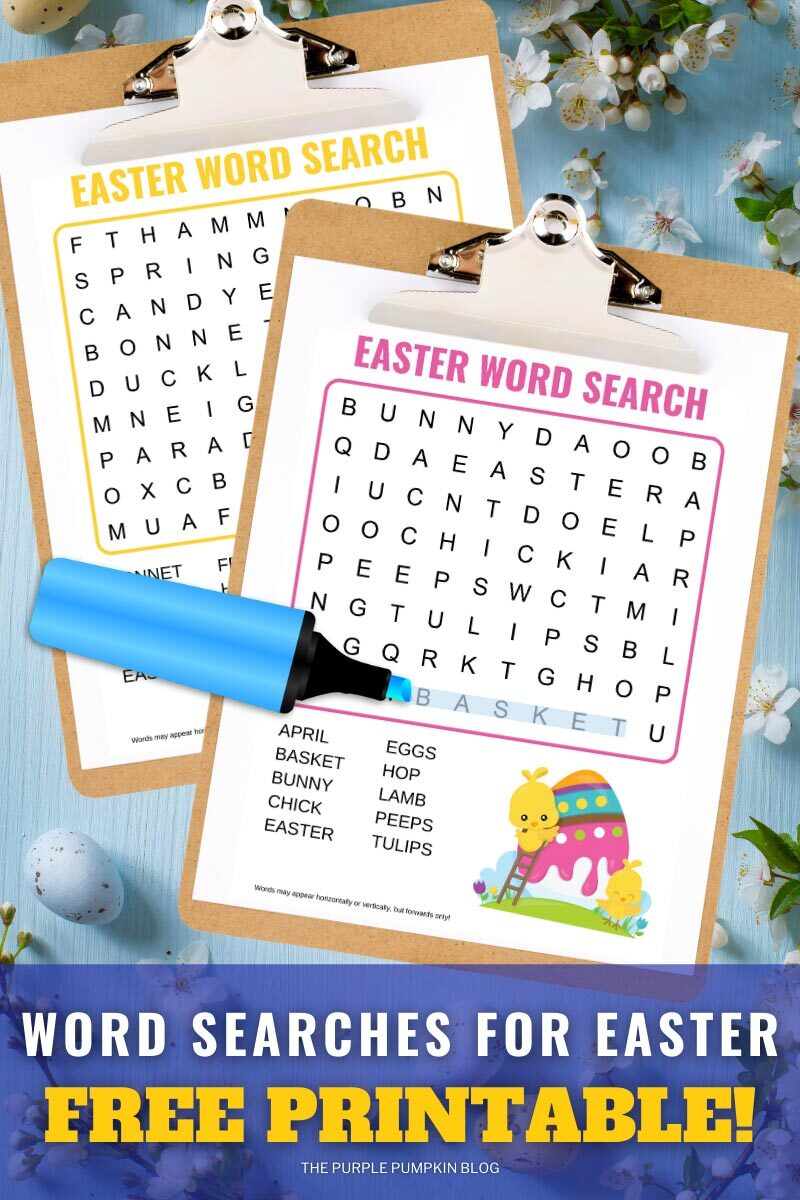 Word Searches for Easter - Free Printable!
